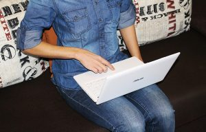 girl using a laptop