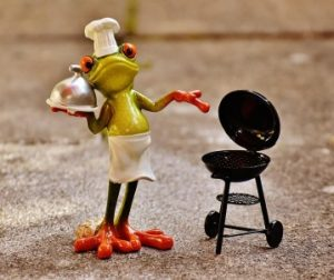 frog smoking meat
